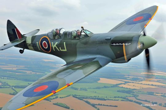 Tim back at the controls of a Spitfire, late in 2011 (photo by Richard Paver, 2011)