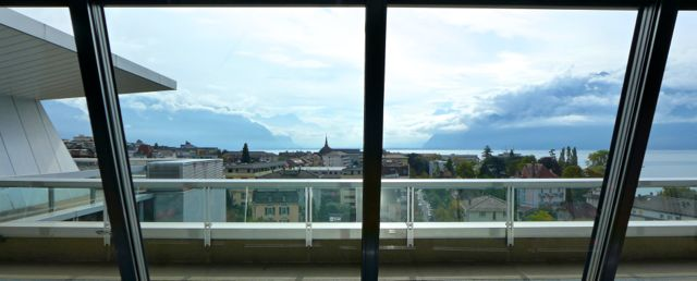 View from Nestlé HQ across Vevey