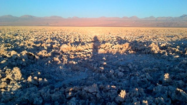 A shadowy selfie as I walk through the salt-beds