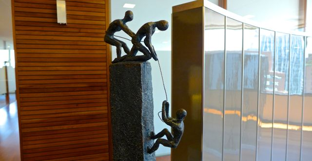 Sculpture in reception of Claro y Cia's HQ