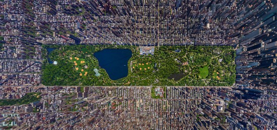 COURTESY AIRPANO This panorama by Russian photographer Sergey Semonov presents Manhattan's Central Park and its surrounding cityscape with fascinating new detail. The Atlantic reproduced the image, submitted as part of the Epson International Photographic Pano Awards. Created in collaboration with aerial-panorama-makers AirPano, the team photographed the park from a helicopter and later stitched the various images together creating the unique, albeit slightly distorted, view of the city.