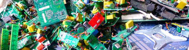 Circuit boards waiting to be recycled