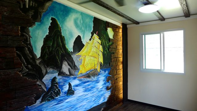In full sail - mural in room where I am to be interviewed