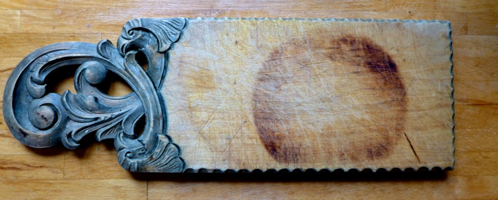 A chopping board originally retrieved from the sea