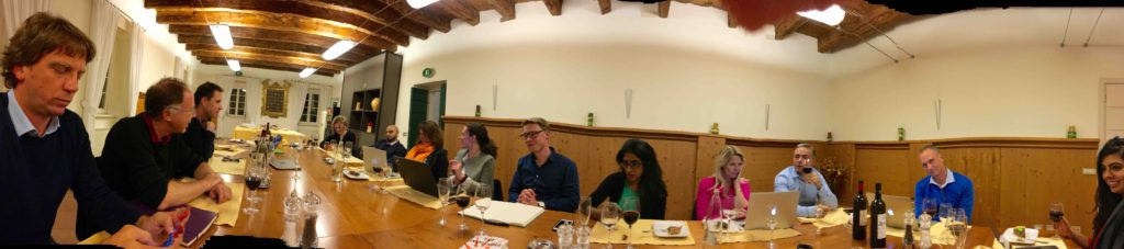 Some of the participants, at dinner